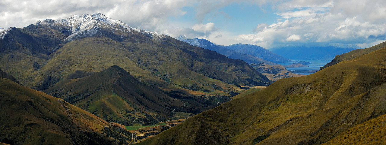 View down the Motatapu River to Lake Wanaka. End Peak on the far left