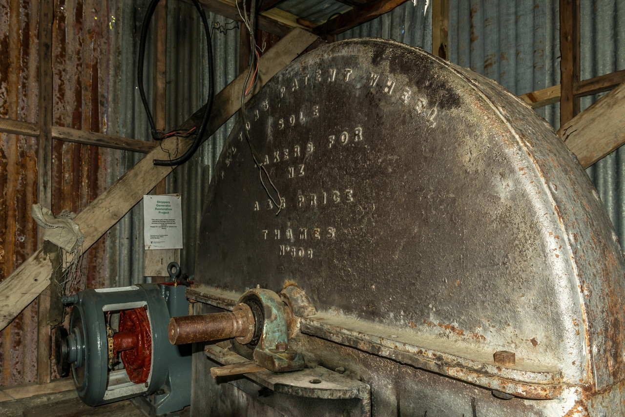 The generator in the Skippers Creek powerhouse