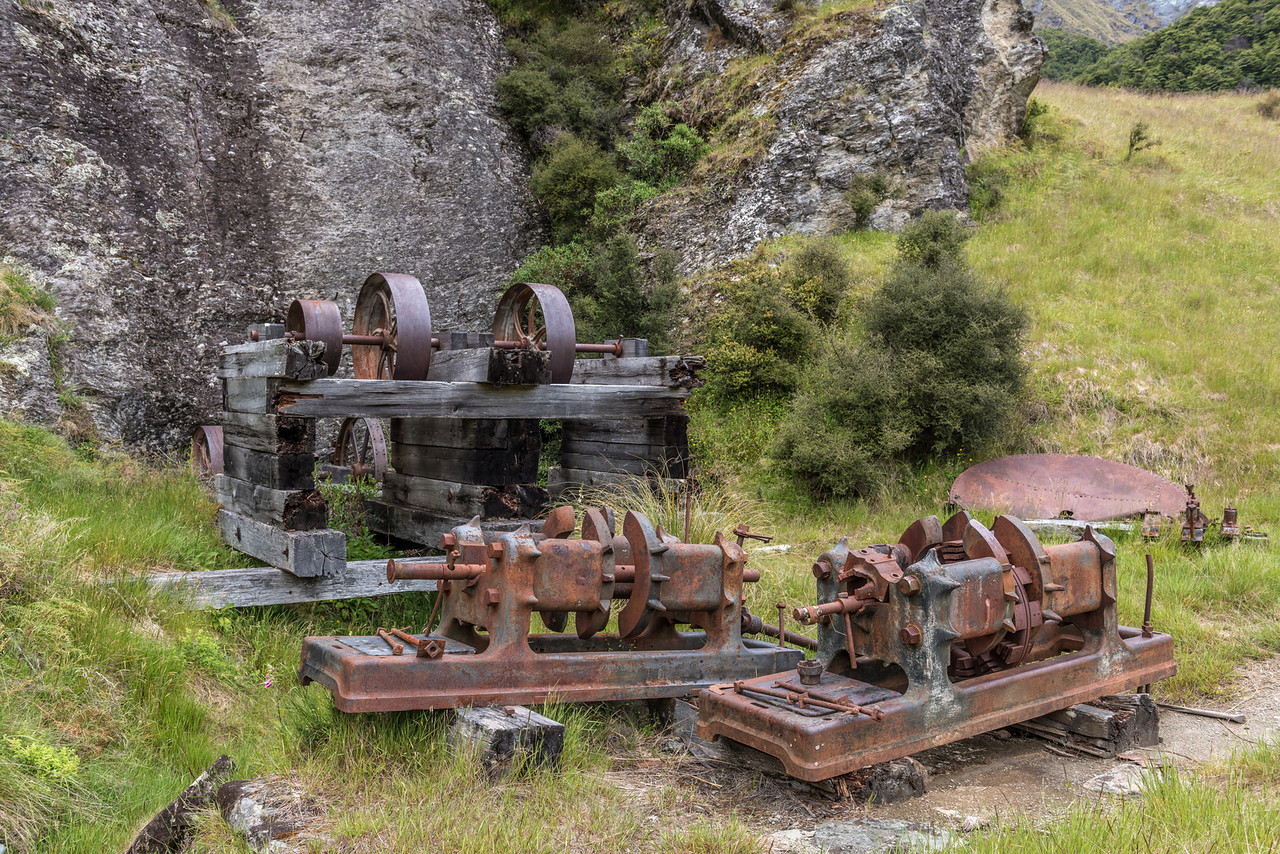 The remains of the Dynamo hydro-electric generation plant, the first one in New Zealand. It was commissioned in 1886 to provide power to the Phoenix Mine in Bullendale