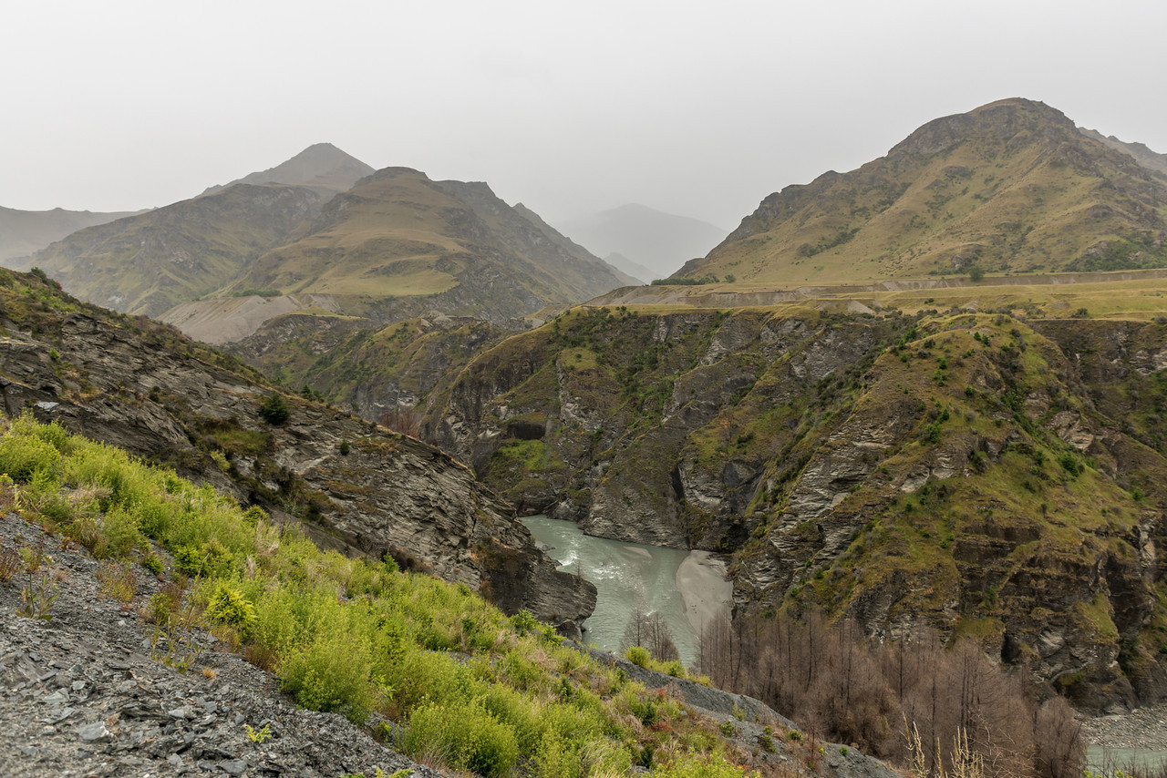 Shotover River Canyon. Stony Creek comes in at centre image
