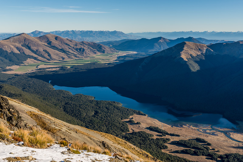 View of the South Mavora Lake from the south ridge of Mount Campbell