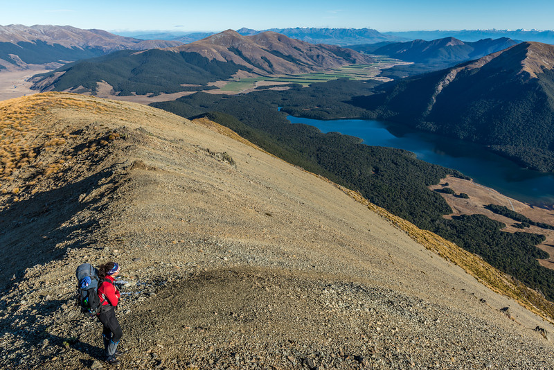 High above the South Mavora Lake, on the south ridge of Mount Campbell