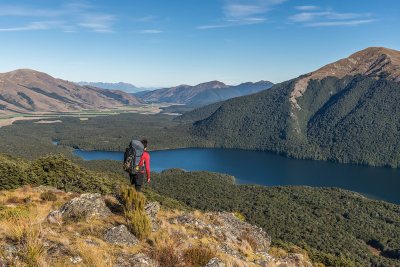 Just above bushline on the south ridge of Mt Campbell, looking down onto the South Mavora Lake