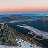 Dawn at our campsite on Pt 1590m south of Mt Campbell: South Mavora Lake and Takitimu Mountains (in the far back)