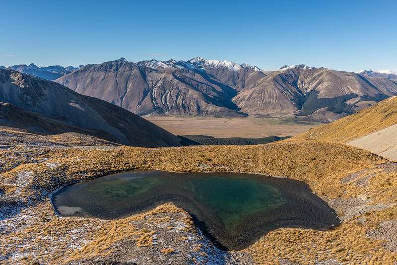 Tarn below Mount Campbell. The Eyre Mountains in the back, with Jane Peak and the Gorge Burn at centre image