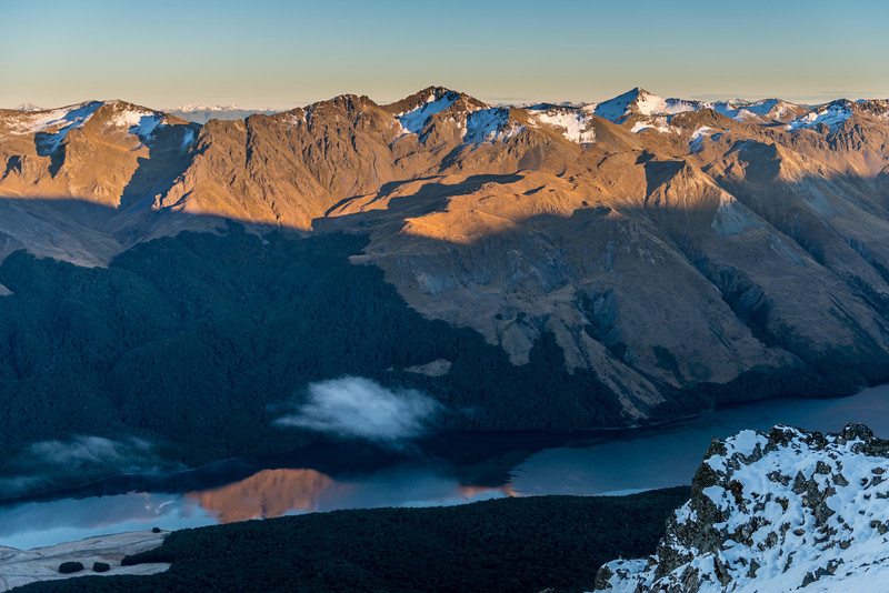 The Livingstone Mountains across the North Mavora Lake from our campsite on Pt 1590m. Mount Eldon is at centre image; Mount Richmond on right