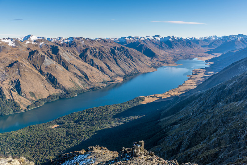 View of the North Mavora Lake from Pt 1584m just north of Mt Campbell
