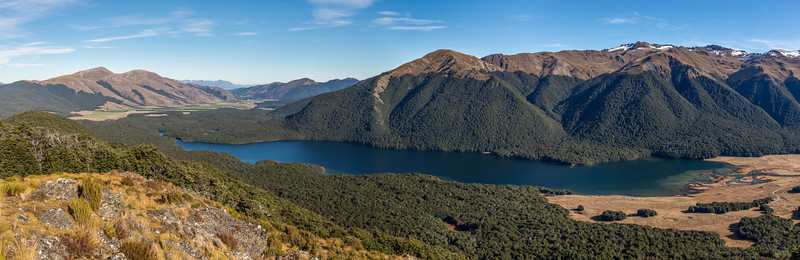 Panorama from bushline on the south ridge of Mount Campbell: Bald Hill, Mararoa River, Bare Peak, South Mavora Lake and Livingstone Mountains. Mt Cerberus on far right