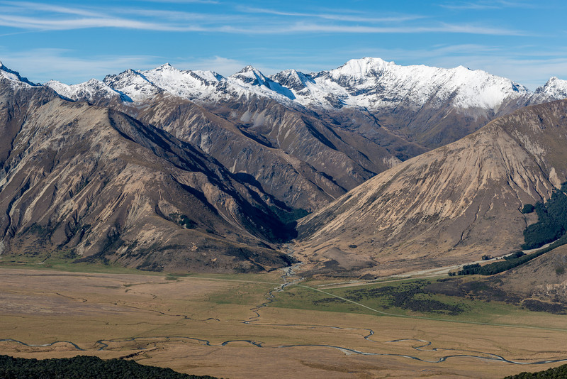 View from the south ridge of Mount Campbell: Jane Peak and the Gorge Burn, Eyre Mountains