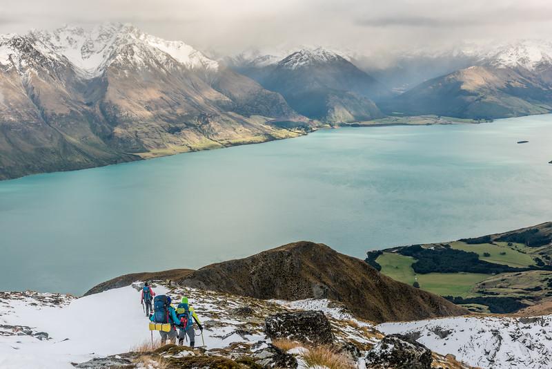 On the north-west ridge of Mount Crichton, descending towards Lake Wakatipu.