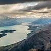 On the north-west ridge of Mount Crichton, looking down onto Lake Wakatipu.