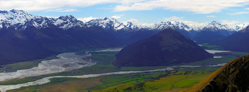 Panorama from Mount Judah: Mount Alfred separates the Dart River (left) from the Rees River (right)