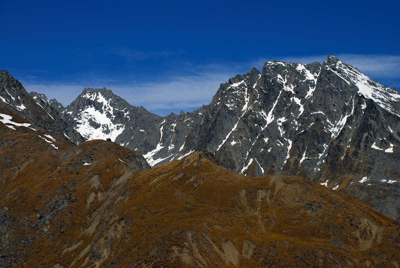 Stone Peak (right of centre image) and the west ridge of Mt Larkins from Mt Judah