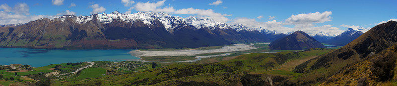 Panorama from the slopes of Mount Judah: Glenorchy, Lake Wakatipu, Mount Bonpland, the Dart and Rees Valleys