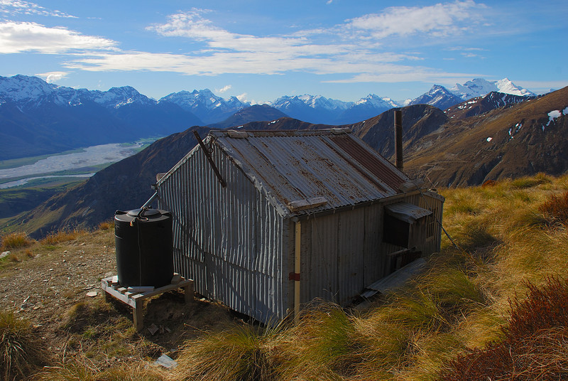 Heather Jock Hut, our cozy home for the night. Mount Earnslaw back right