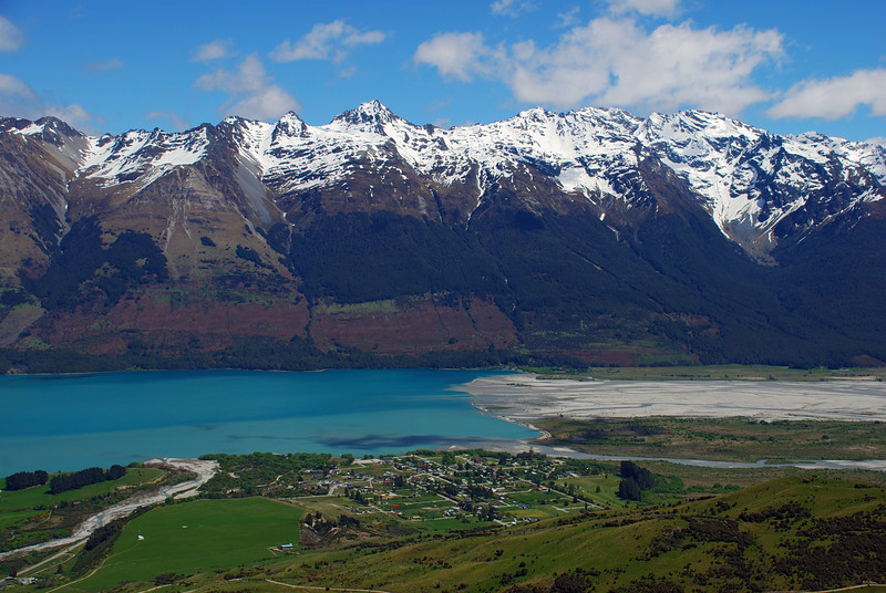 Glenorchy at the head of Lake Wakatipu. Bold Peak and Mount Bonpland above