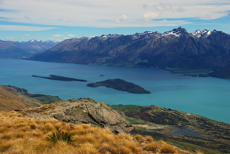 View of Lake Wakatipu from the summit of Mt Judah. Pig Island and Pigeon Island at centre image; Tooth Peak stands out on top right.