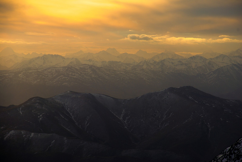 Sunset on the summit ridge of Mt St Bathans