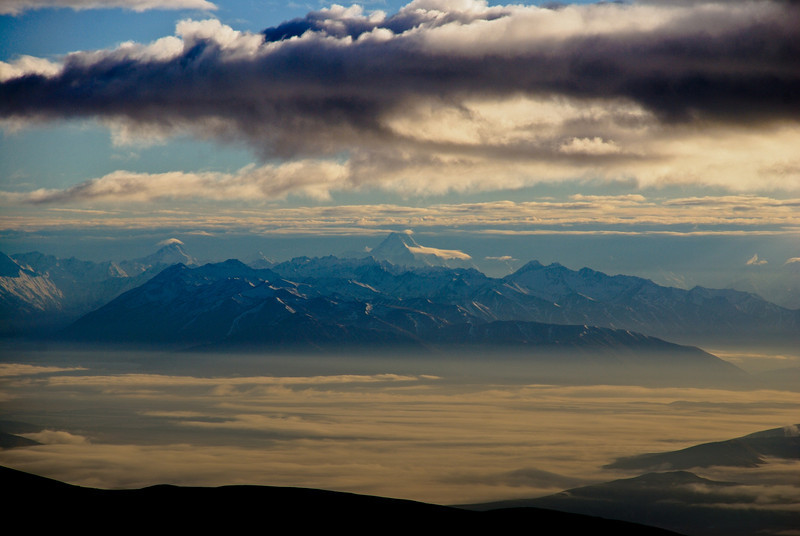 Mount Sefton and Aoraki/Mt Cook at sunrise. View from the summit of Mt St Bathans