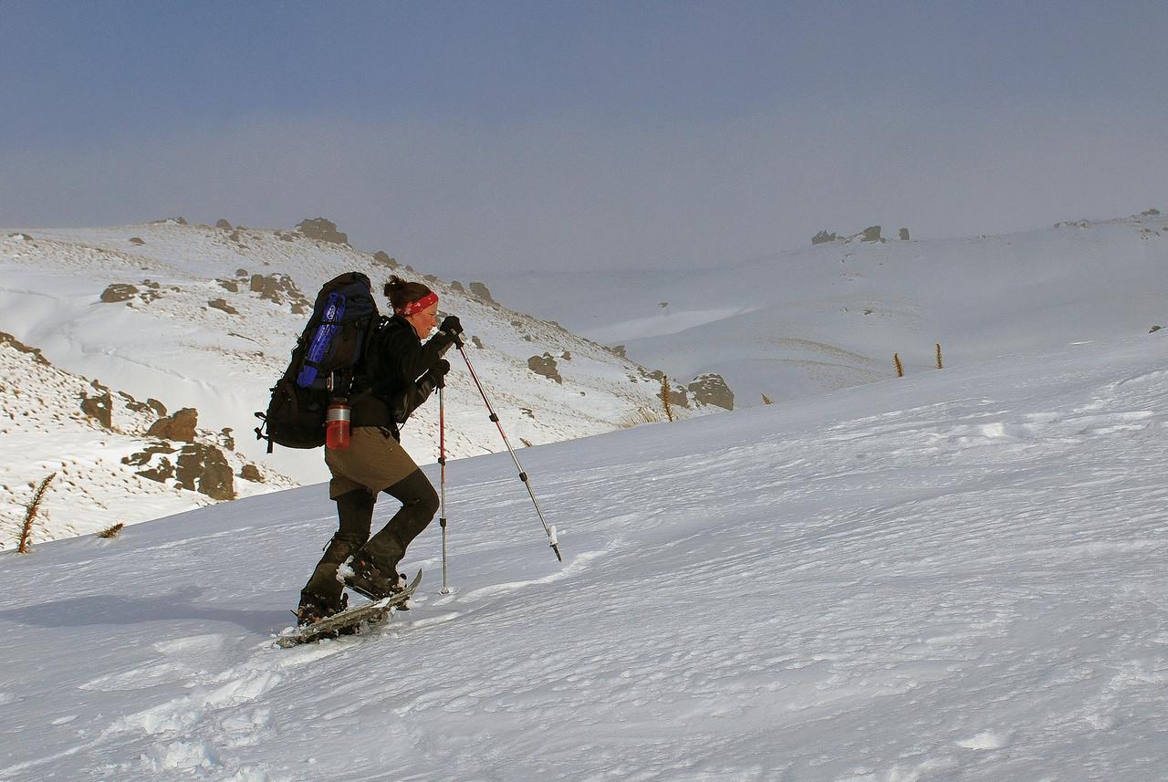 Nina snow-shoeing towards the Obelisk, Old Man Range