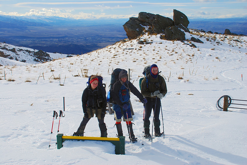 The team at the northern boundary of the Kopuwai Conservation Area. Omeo Gully Track, Old Man Range