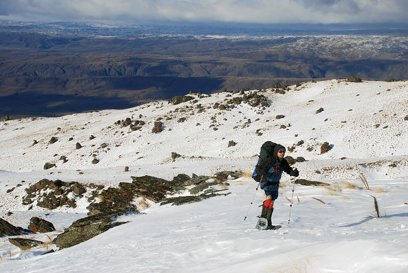 Snow-shoeing towards the Obelisk, Old Man Range