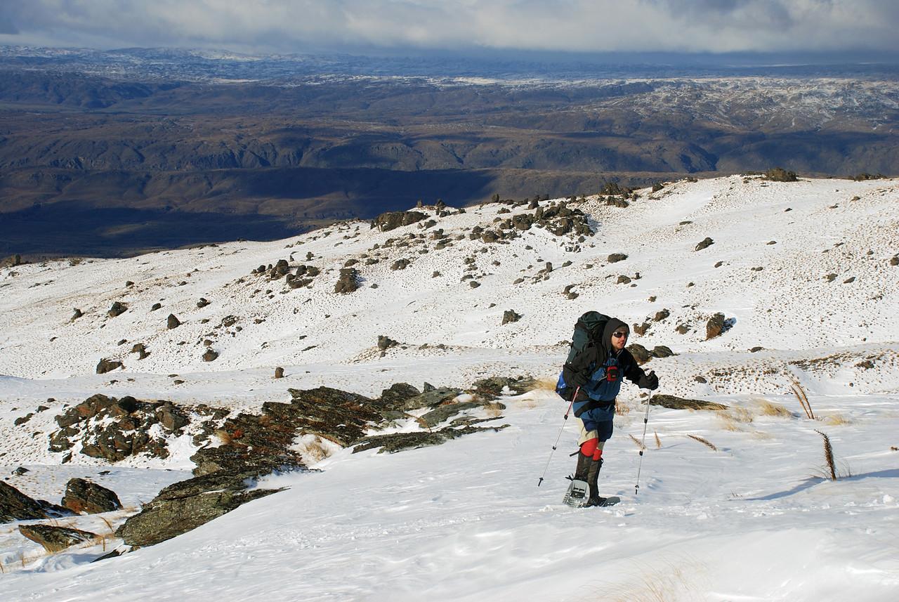 Snow-shoeing towards the Obelisk, Old Man Range