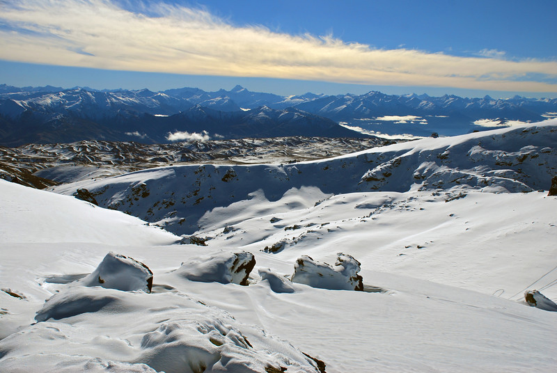 Mount Aspiring and Lake Wanaka from the summit of Mount Pisa
