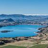Wanaka township and Roys Bay, Lake Wanaka, from the slopes of Roys Peak.