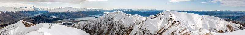 Panorama from Pt 1637m. From left to right: Treble Cone, Black Peak, Rob Roys Peak, Niger Peak, Mount Aspiring / Tititea, Buchanan Peaks, Mount Alta, Minaret Peaks, Lake Wanaka, Roys Peak, Mount Alpha and the St Bathans Range.