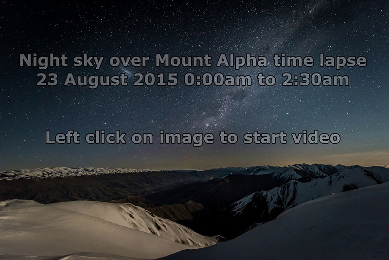 Time lapse - night sky over Mount Alpha