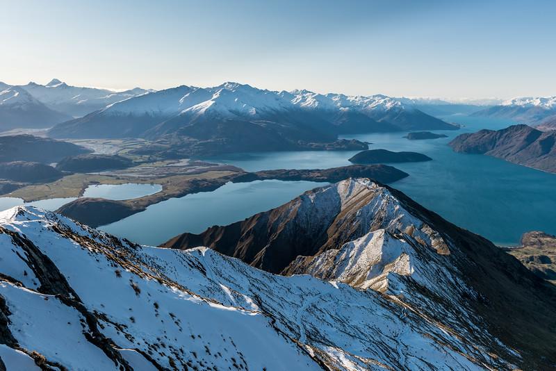 View of Mount Aspiring, Mount Alta and Lake Wanaka from Roys Peak