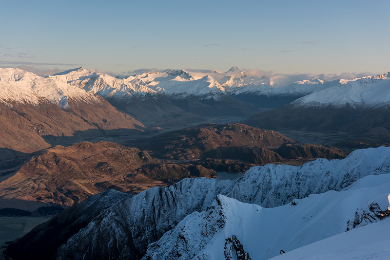 View from Mount Alpha: Matukituki Valley, Black Peak and Mount Aspiring/Tititea.