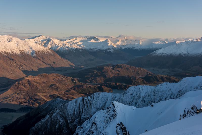 View from Mount Alpha: Matukituki Valley, Black Peak and Mount Aspiring/Tititea.