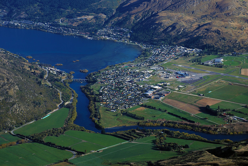 View of Frankton and the Kawarau River from the Queens Drive, The Remarkables