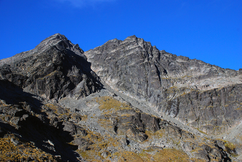 The Remarkables - Single Cone and Double Cone from the northern shore of Lake Alta