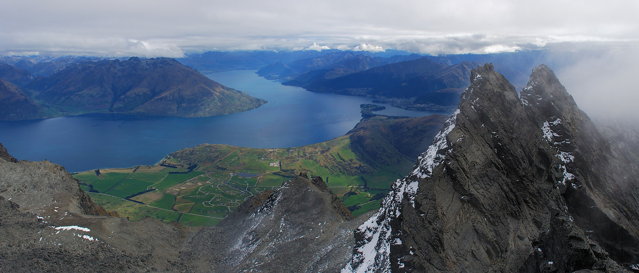 Lake Wakatipu and Double Cone from the summit of Single Cone