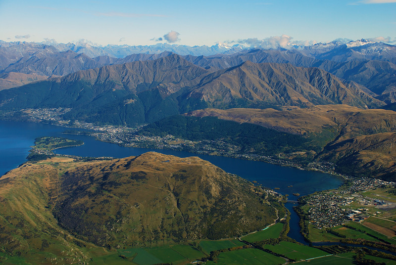 View of Queenstown and Frankton from the Queens Drive, The Remarkables
