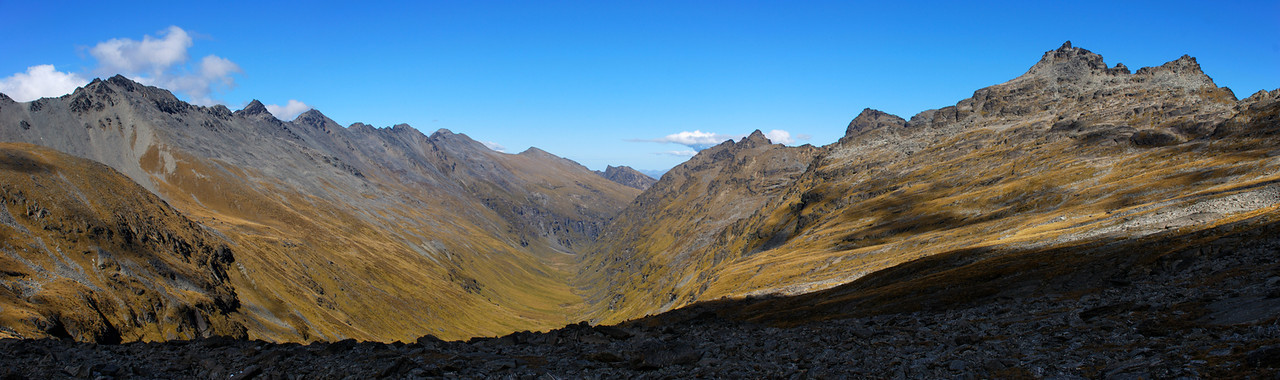 View into Wye Creek from the southern slopes of Single Cone. The Remarkables on the right-hand side