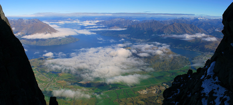 View of Lake Wakatipu and Queenstown from the gap south of Telecom Tower, The Remarkables