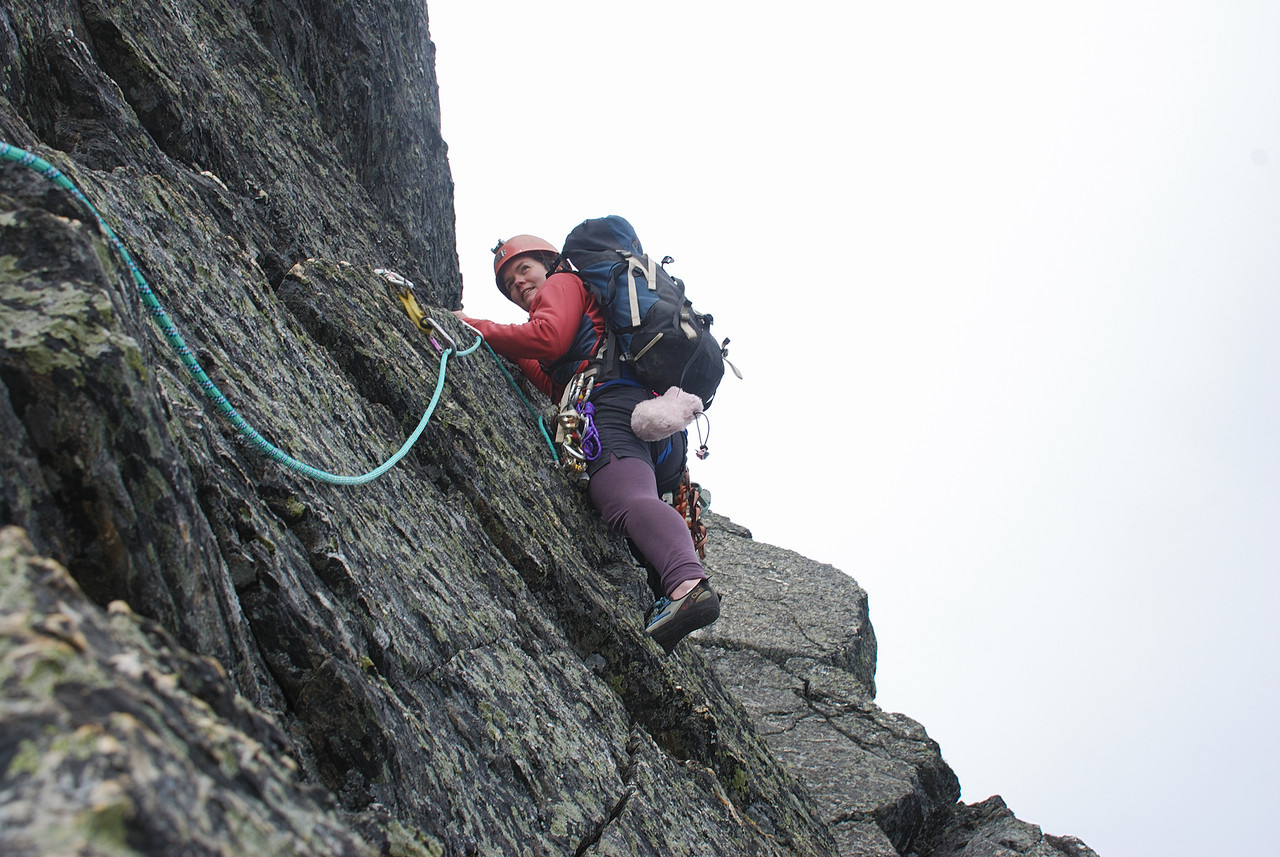 Claire on the north west ridge of Double Cone