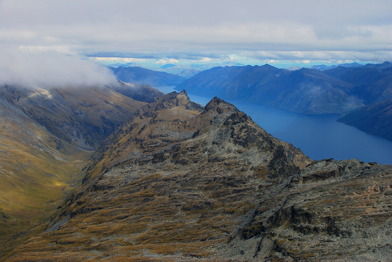 View south from Single Cone: Wye Creek, The Remarkables and Lake Wakatipu