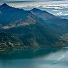 The TSS Earnslaw on Lake Wakatipu, shortly after leaving Queenstown. Ben Lomond and Bowen Peak above