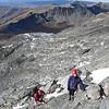 Max and Nina on Single Cone, Hector Mts at rear