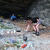 Max and Nina at the rock bivvy in Wye Creek