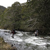 Inka and Susan crossing the Spence Burn near Spence Biv