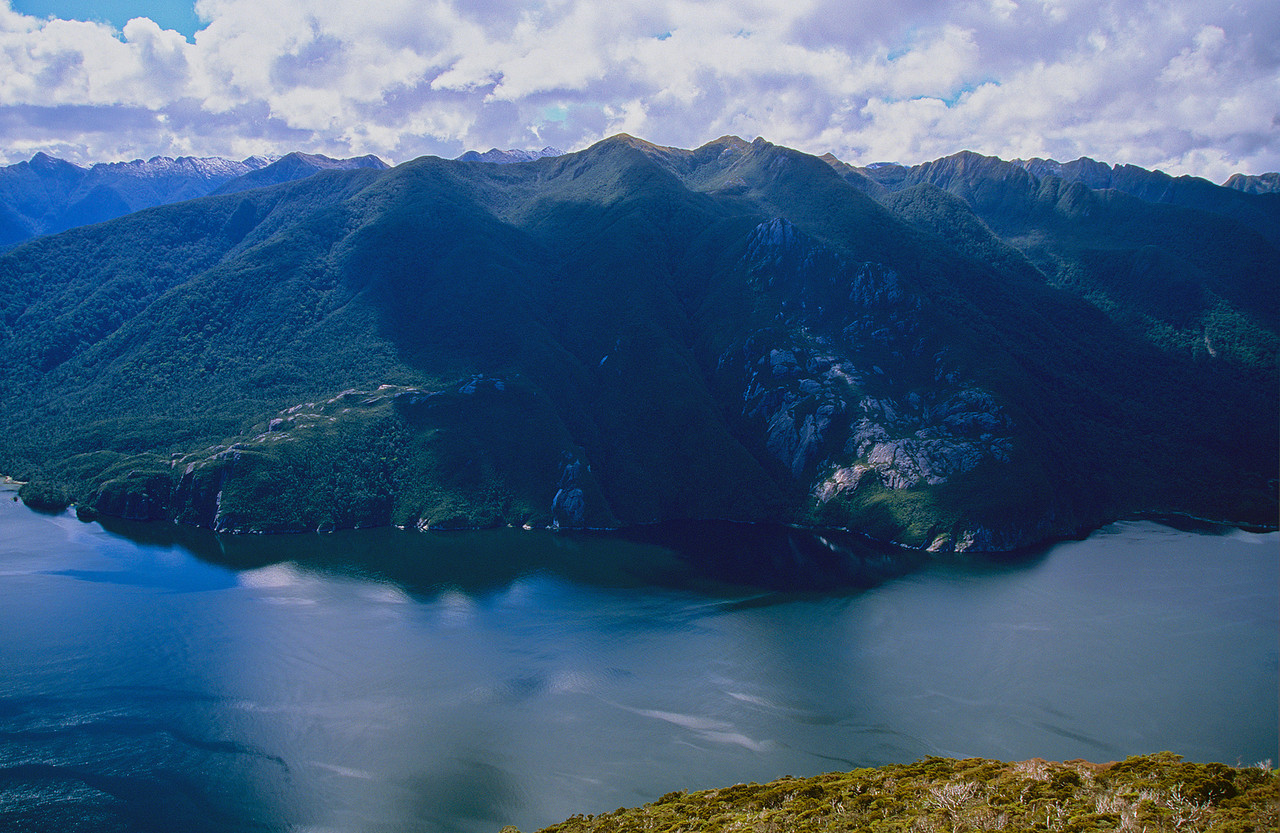 Thompson Sound from the top of Astelia Spur. The Crayfish Heights at centre image