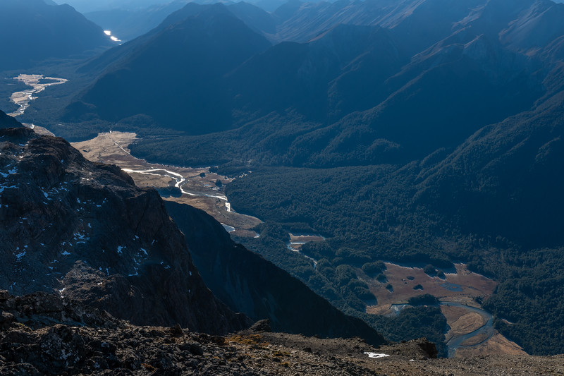 Eglinton River from Mount Eglinton. Knobs Flat is just left of centre image.