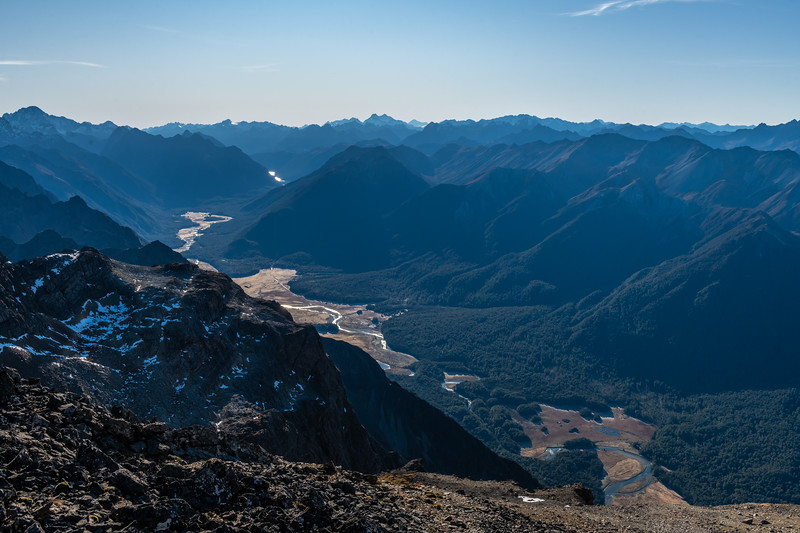 Eglinton River from Mount Eglinton. Mount Earnslaw / Pikirakatahi and Mount Aspiring / Tititea are on the skyline at centre image.