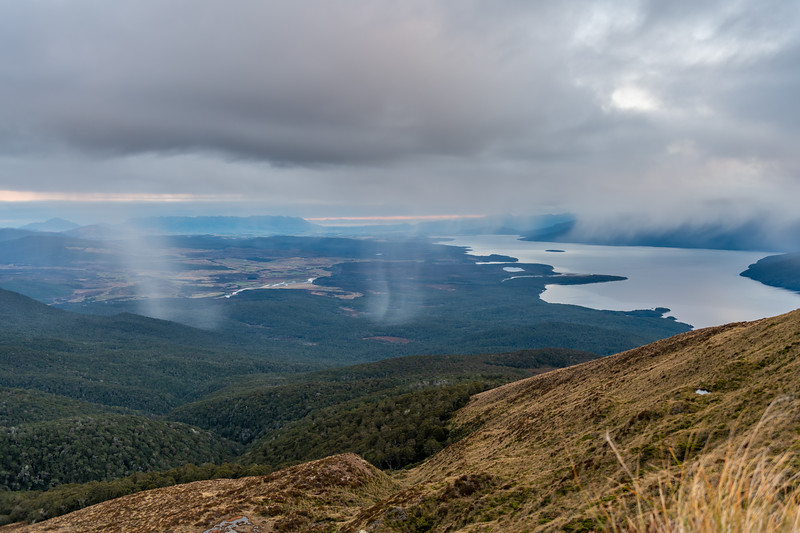 Rain showers over Lake Te Anau